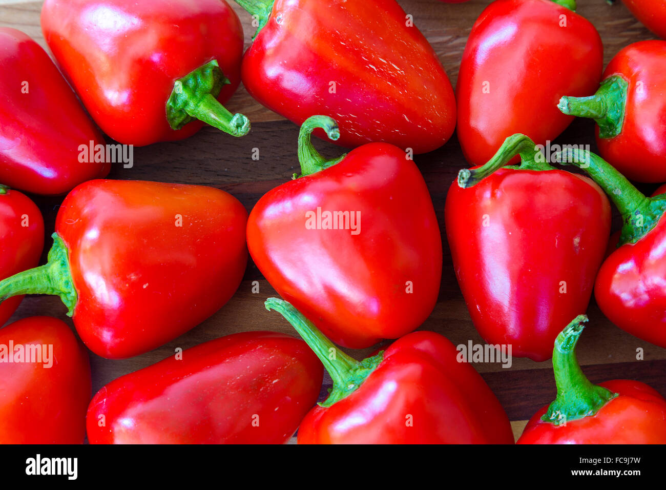 Little red peppers from the home garden. - Stock Image