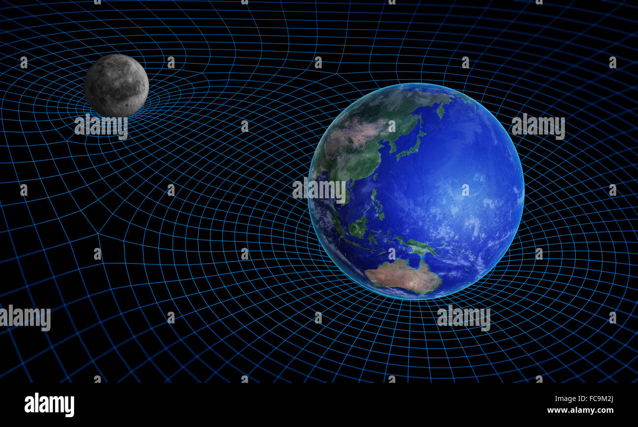 Space time continuum curvature and gravity concept - Stock Image
