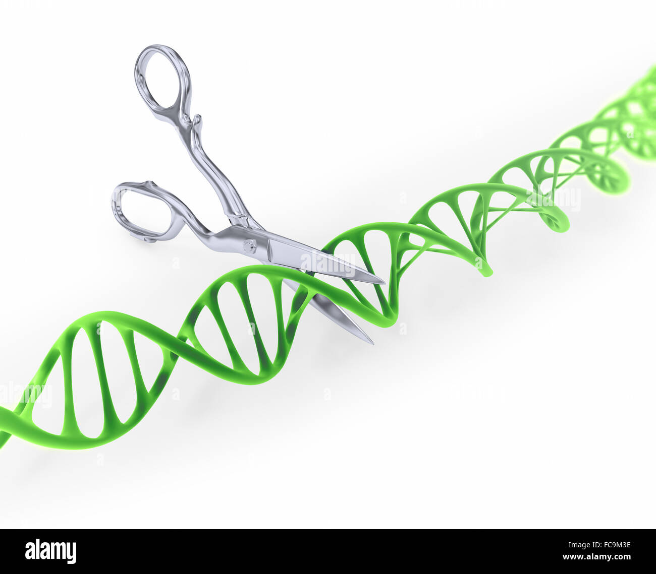 DNA strand cut with scissors - Gene editing conceptual illustration - Stock Image