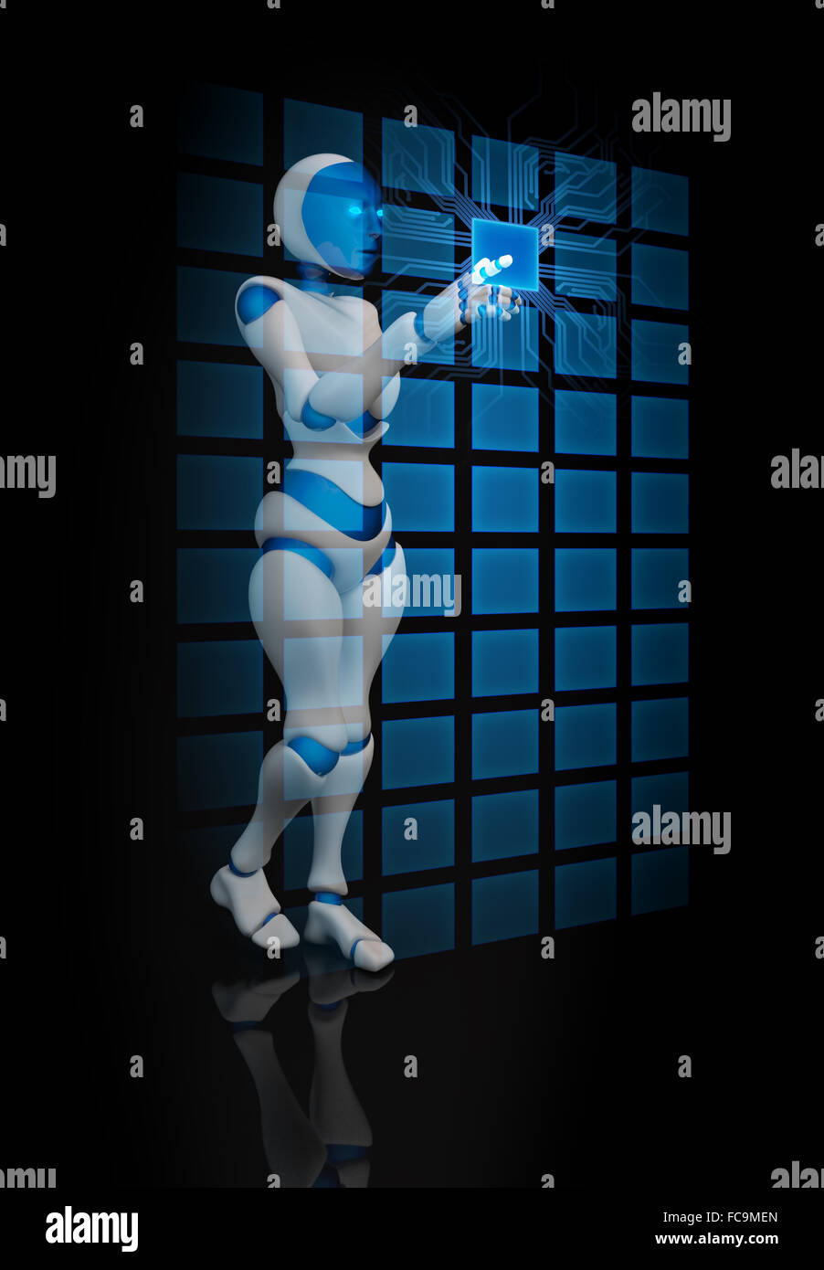 Humanoid female robot using a futuristic interface - Stock Image