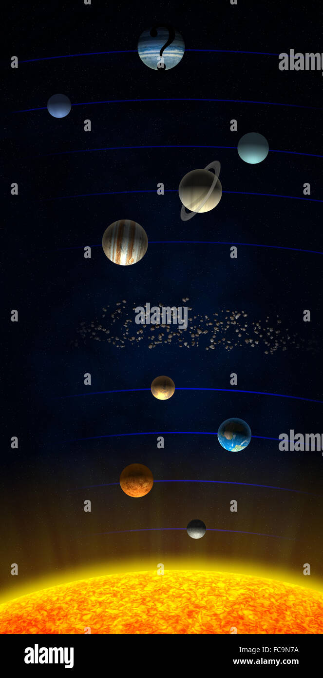 Solar system shown with the theorised ninth Planet X - Stock Image