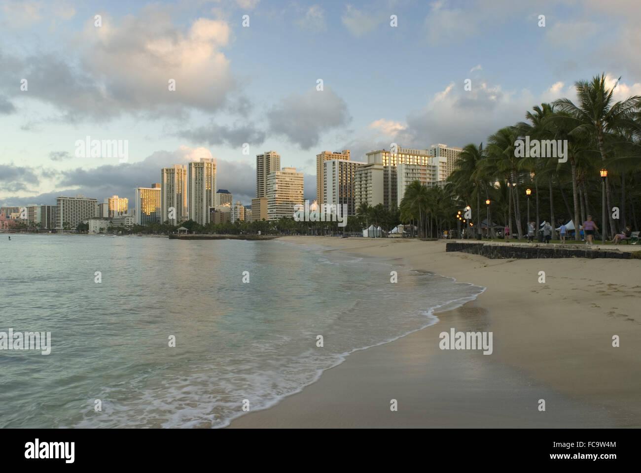 Waikiki beach Honolulu - Stock Image