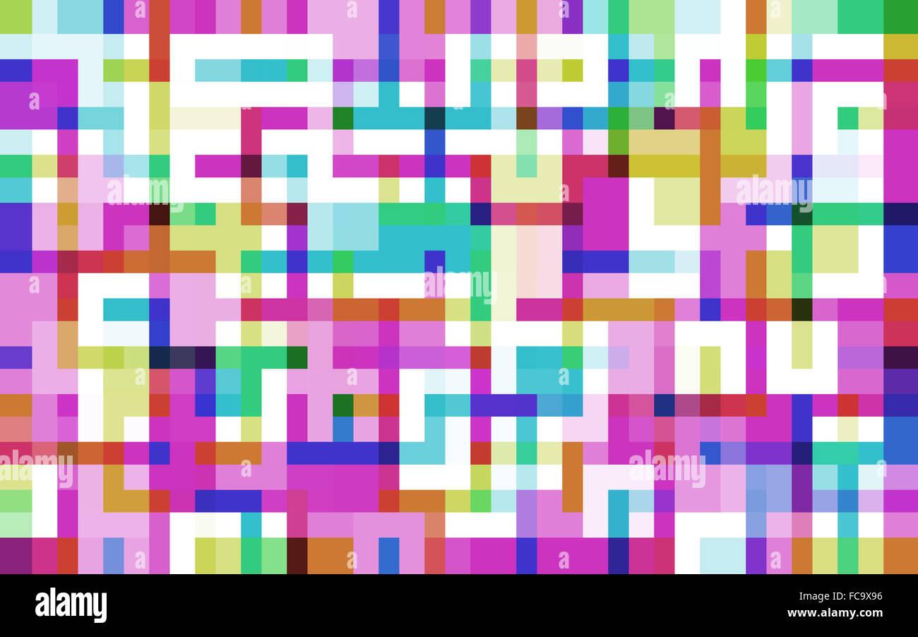 pixelated maze - Stock Image