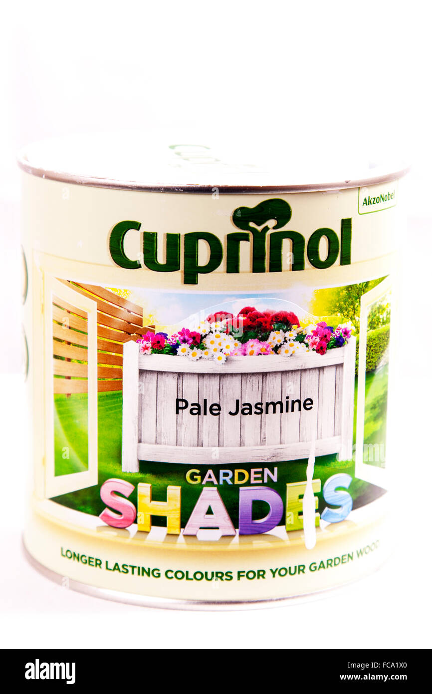 Cuprinol wood stain paint tin product logo name cutout cut out isolated white background copy space - Stock Image