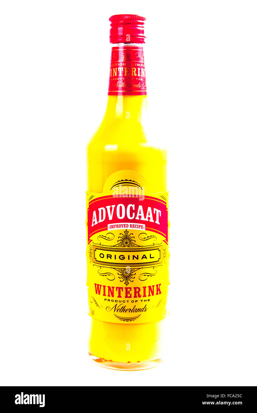 Advocaat bottle snowball ingredient drink alcohol alcoholic beverage cutout cut out isolated white background copy - Stock Image