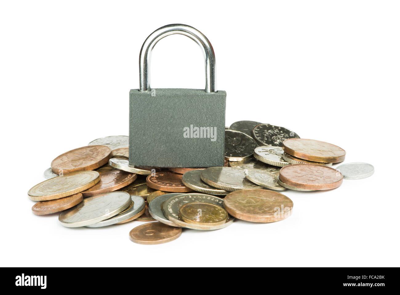 Grey locked padlock and coins - Stock Image