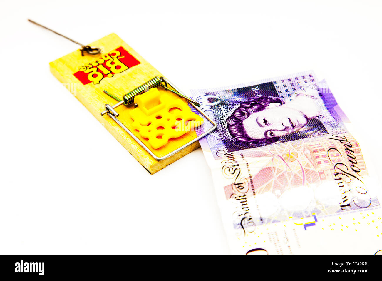money in mouse trap trip catch loan lender debt debts cash flow problem cutout cut out isolated white background - Stock Image