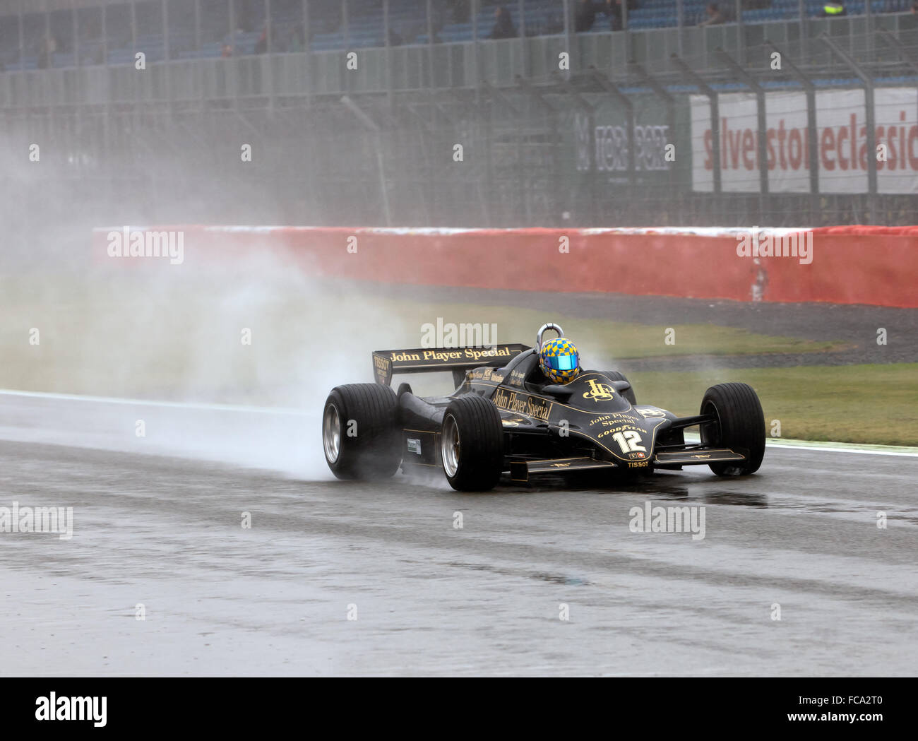 A 1981, Lotus 91 Formula 1 car, Qualifying in the rain, for the FIA Historic Formula One Race at the Silverstone - Stock Image