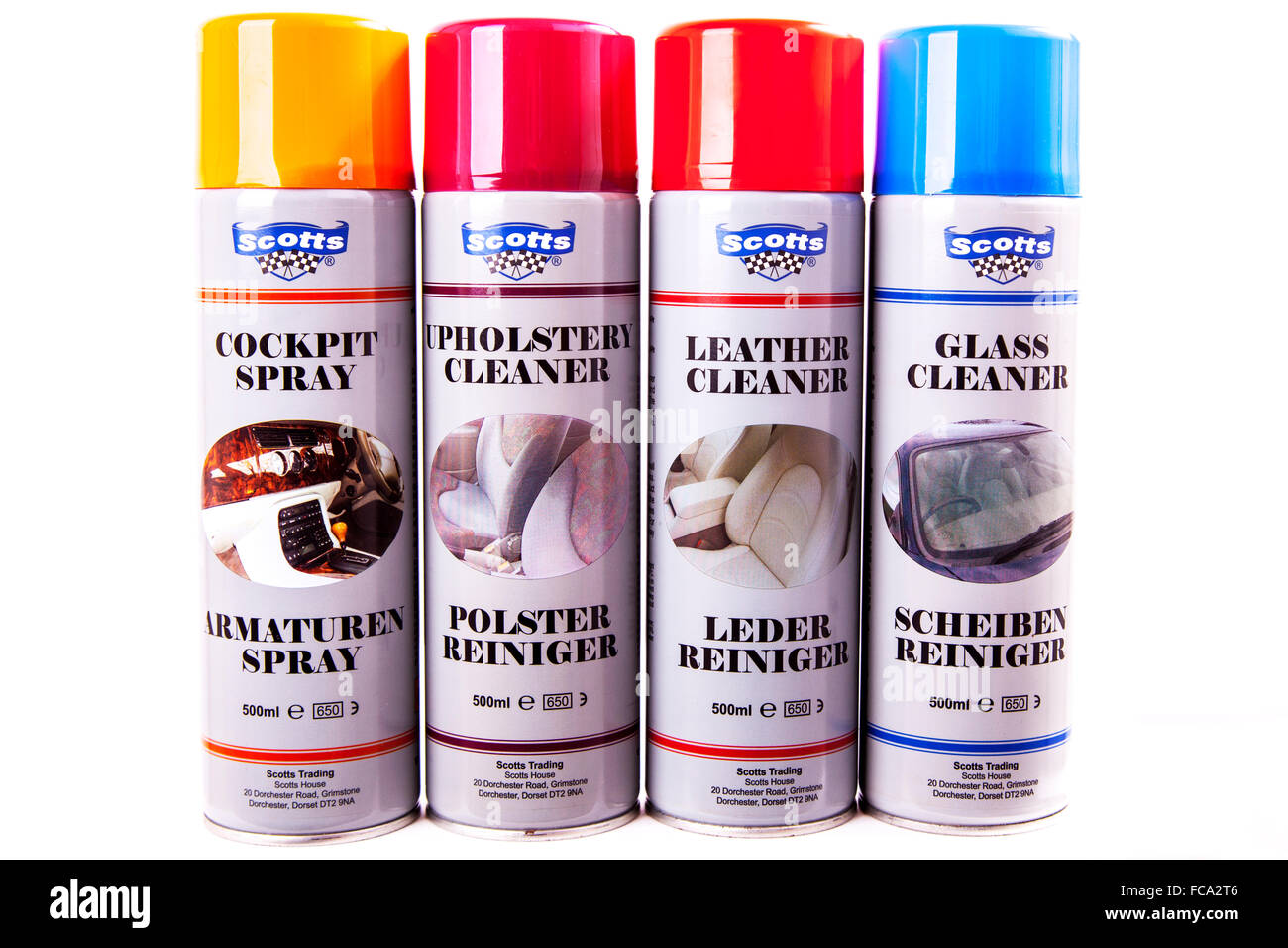 Scotts Car care products cans aerosols aerosol tins glass cleaner leather upholstery cutout cut out isolated white - Stock Image