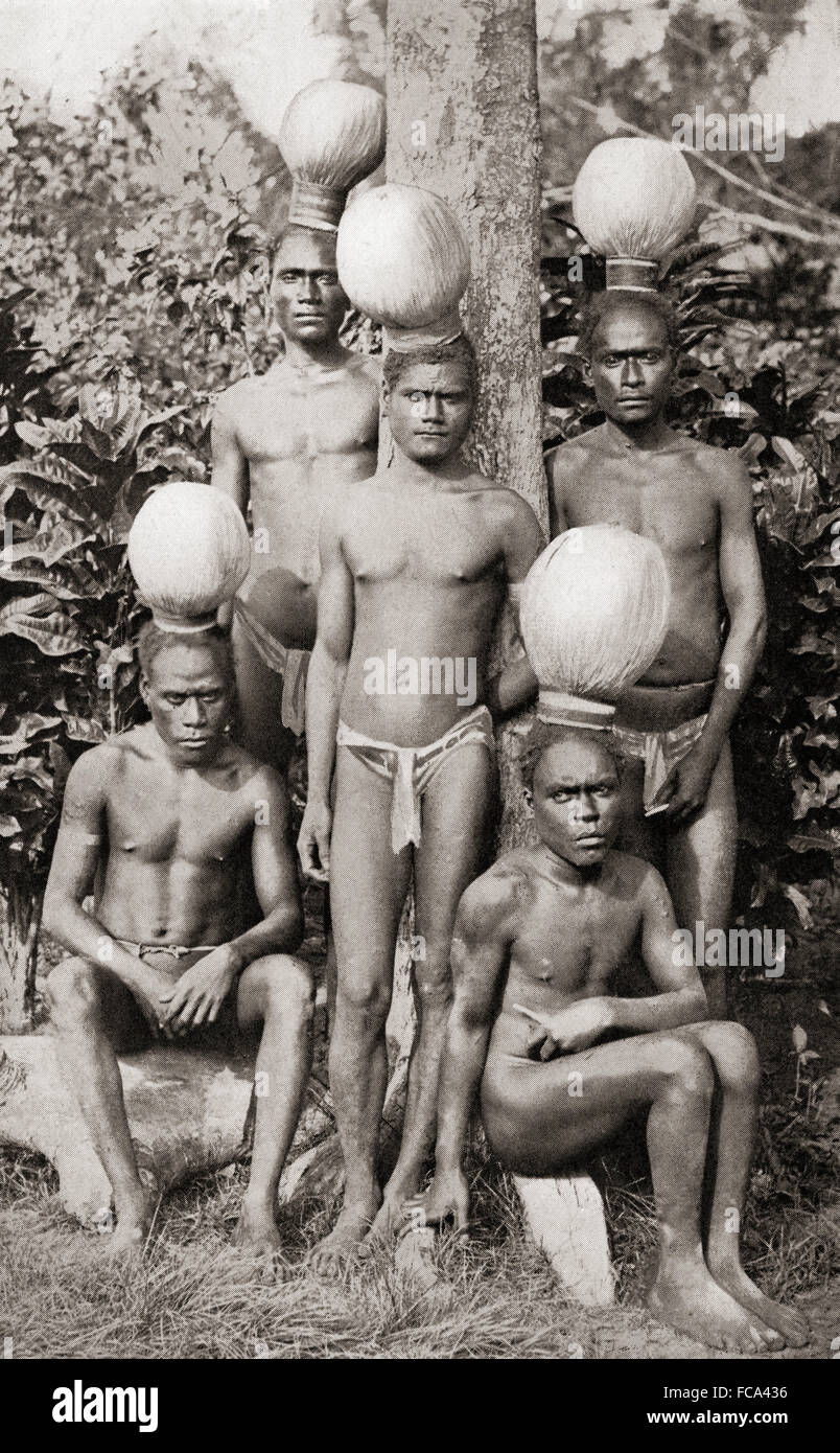 Initiation on Bougainville Island, Papua New Guinea, Melanesia as shown in a 19th century photograph.  Four or five - Stock Image