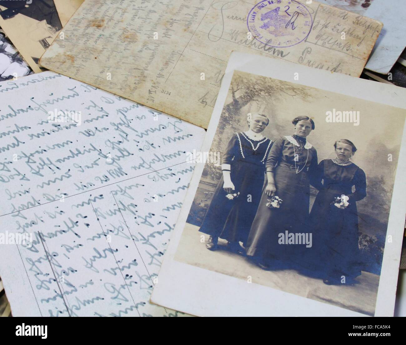 Historical photos with letters - Stock Image