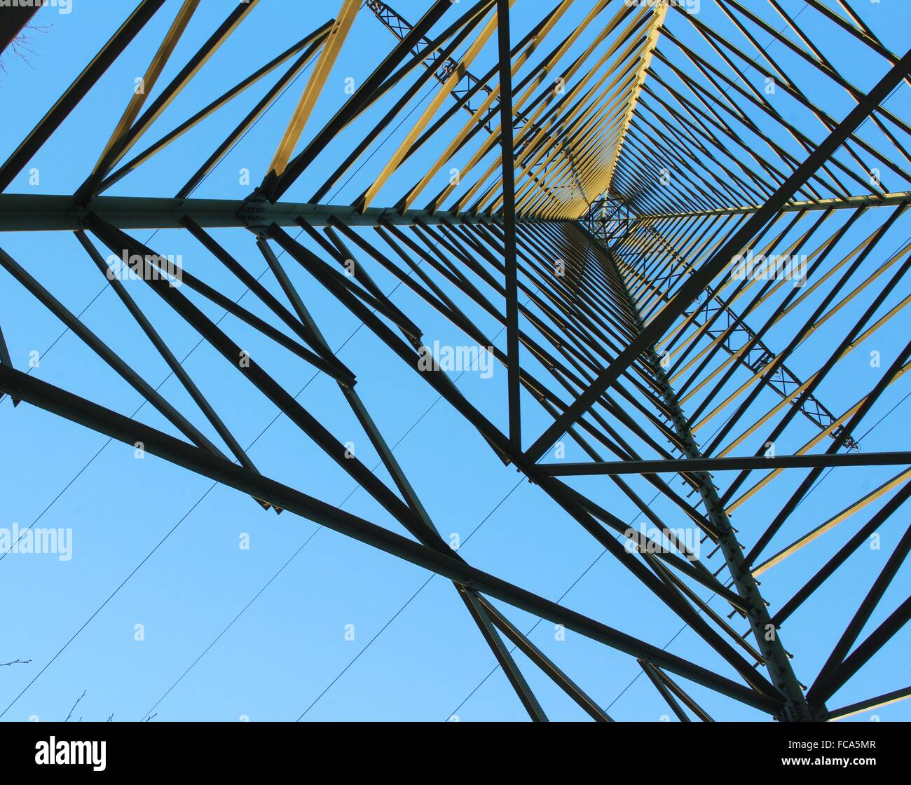 Electrical tower from below - Stock Image