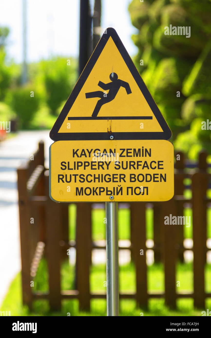 Floors may be slippery - Stock Image