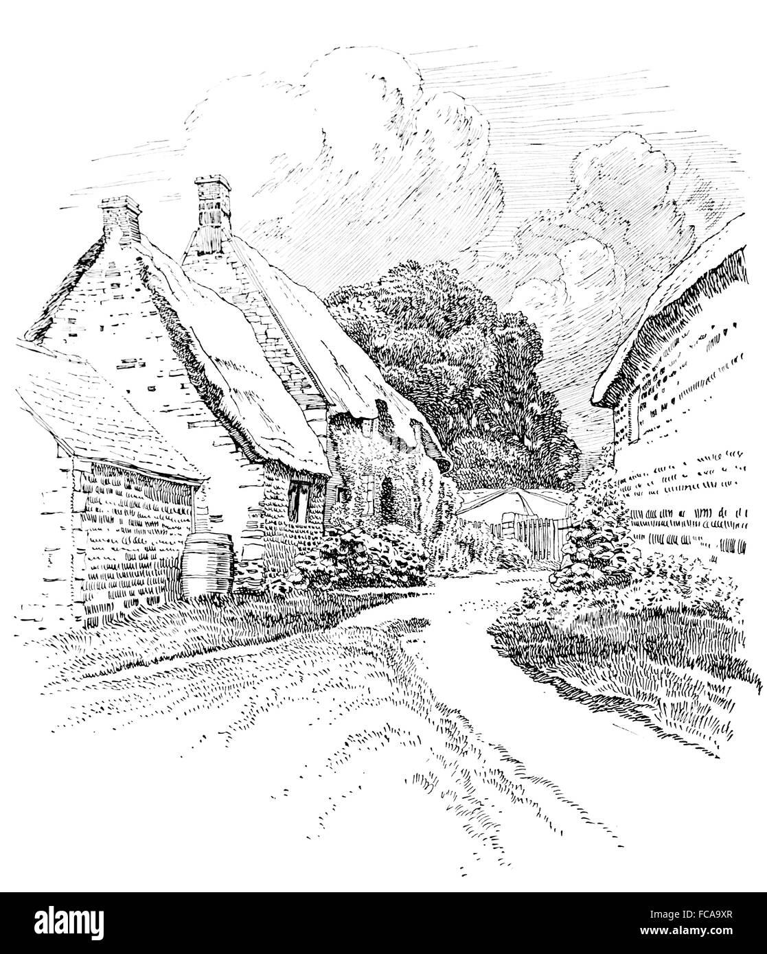 UK, England, Northamptonshire, Wilbarston, thatched cottage garden 1911 line illustration by, Sydney R Jones Stock Photo