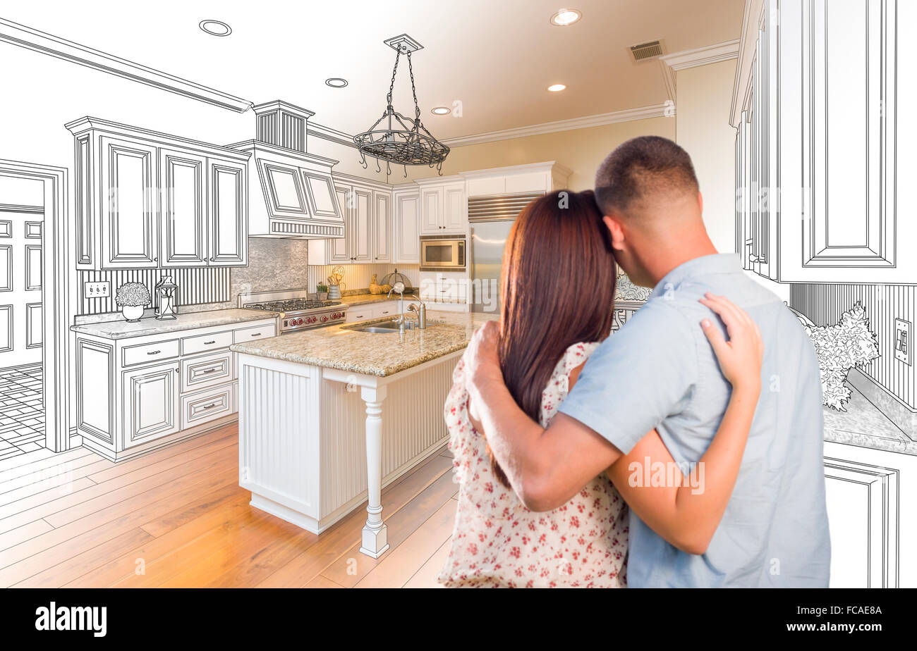 Young Military Couple Looking Inside Custom Kitchen And
