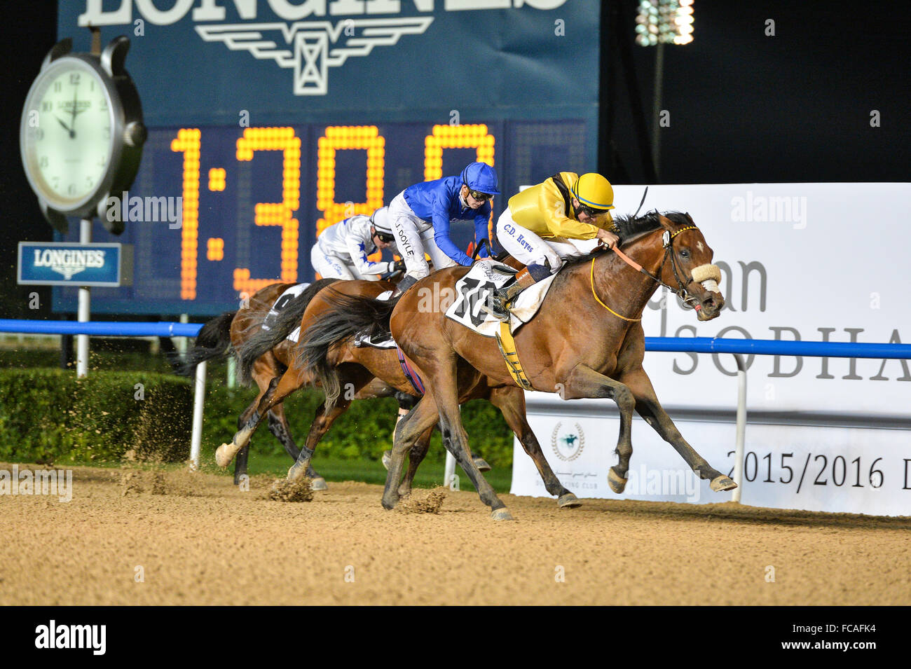 Dubai, UAE. 21st January, 2016. Christopher Hayes  on Top Clearance, wins the District One Mansions race ahead of Stock Photo