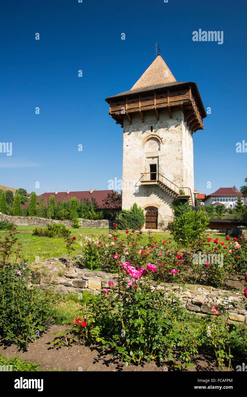 Medieval stone tower at Humor Monastery in Bucovina  (Unesco Heritage) - Stock Image