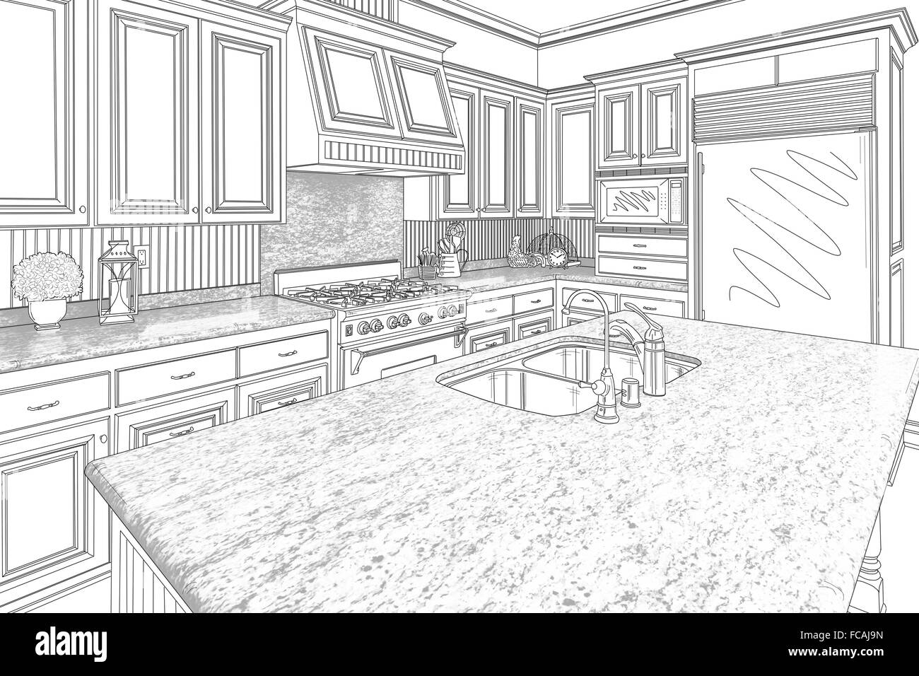 Beautiful Custom Kitchen Design Drawing High Resolution Stock Photography And Images Alamy
