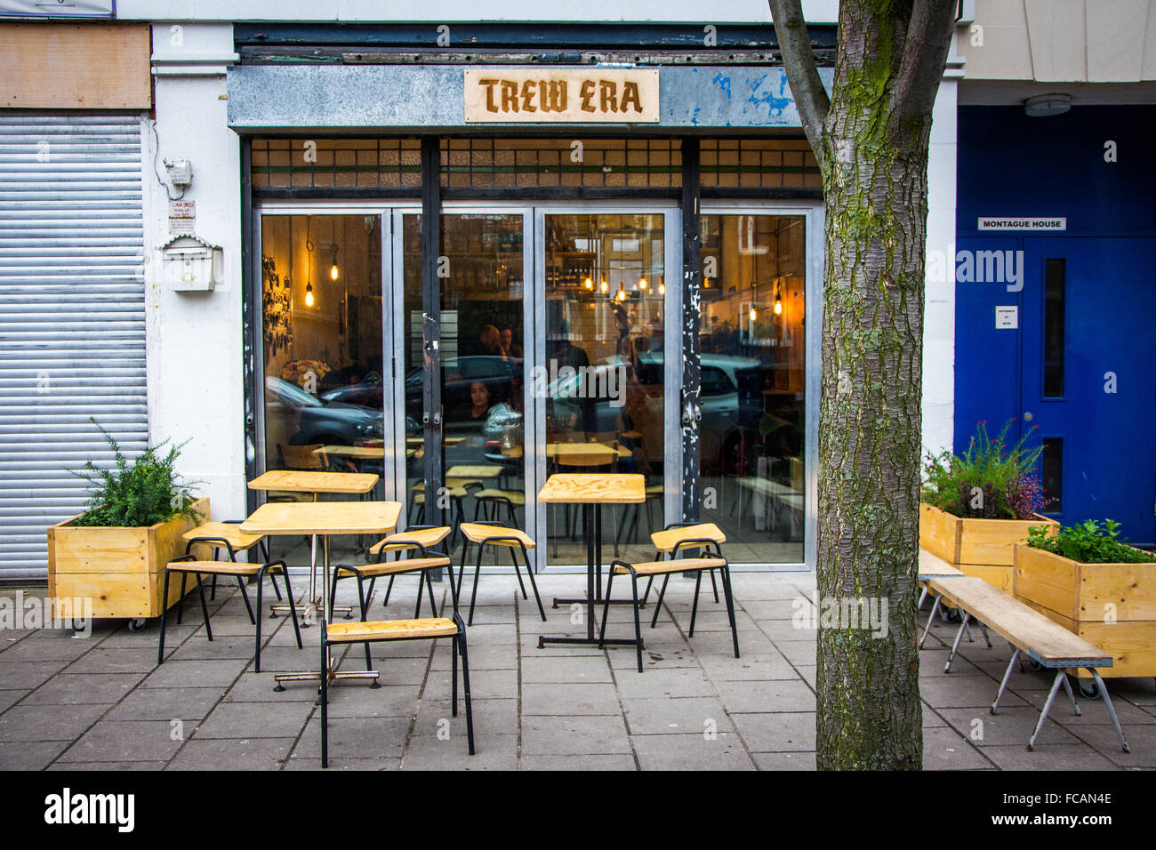 Shop front at  Russell Brand and community Trew Era Café - Stock Image