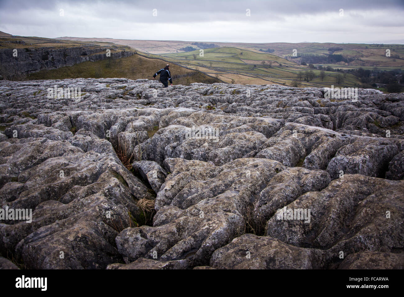 Geological rock formations on Malham Cove in the Yorkshire Dales - Stock Image