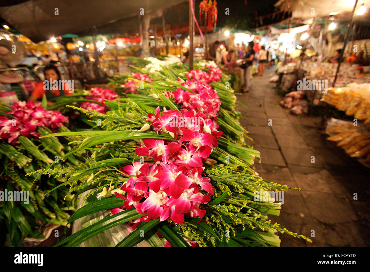 Flowers for sale, Chatuchak Market. Bangkok. Asia - Stock Image
