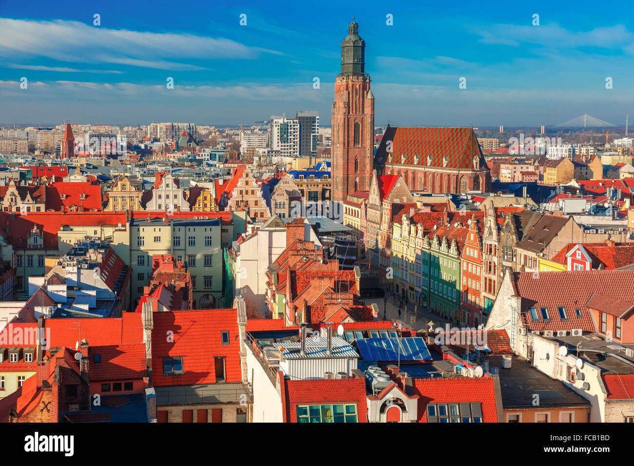 Aerial view of Wroclaw in the morning - Stock Image