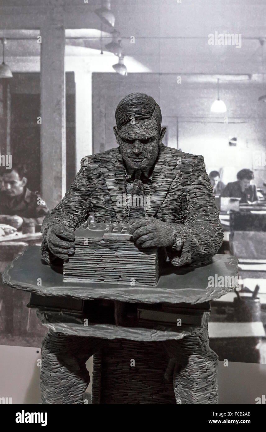 Stephen Kettle's stacked slate sculpture of Alan Turing in the museum at Bletchley Park, Buckinghamshire, England, - Stock Image