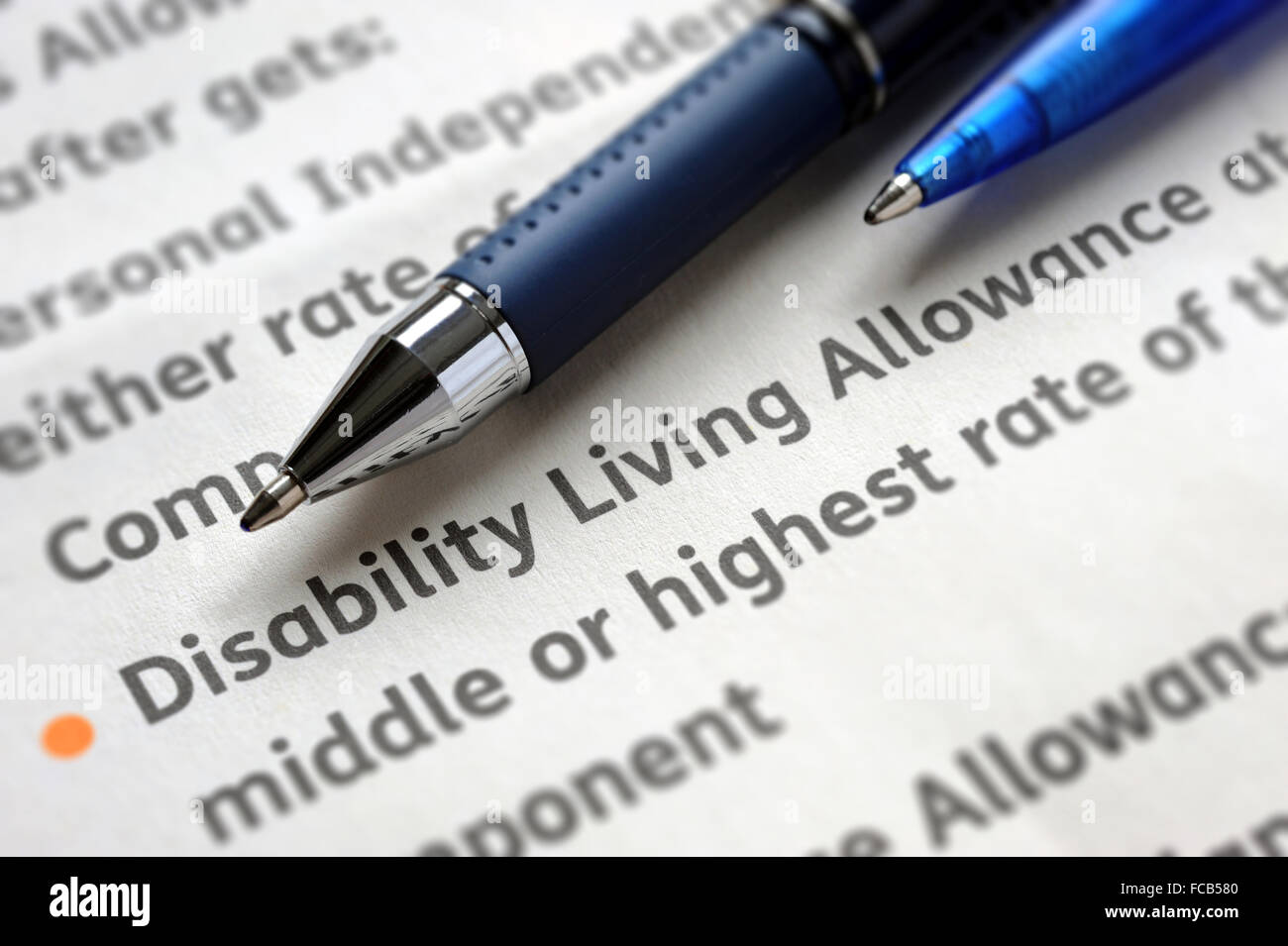 DISABILITY LIVING  ALLOWANCE INFORMATION FORM RE THE ELDERLY BENEFITS WELFARE CARING CARE HOME AGING POPULATION - Stock Image