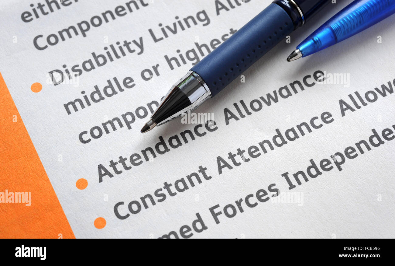 ATTENDANCE ALLOWANCE INFORMATION FORM RE THE ELDERLY BENEFITS WELFARE CARING CARE HOME AGING POPULATION DISABILITY - Stock Image