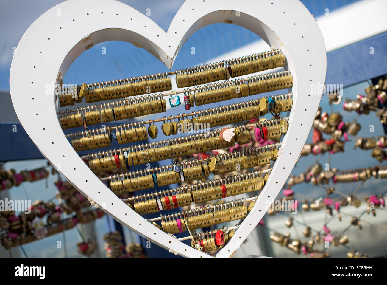 Nov 2 2012 Osaka Japan Symbolic Heart Shaped Love Locks Stock