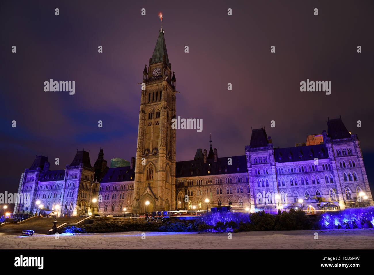 Blue lights on Canadian Parliament Buidings at Christmastime in Ottawa - Stock Image