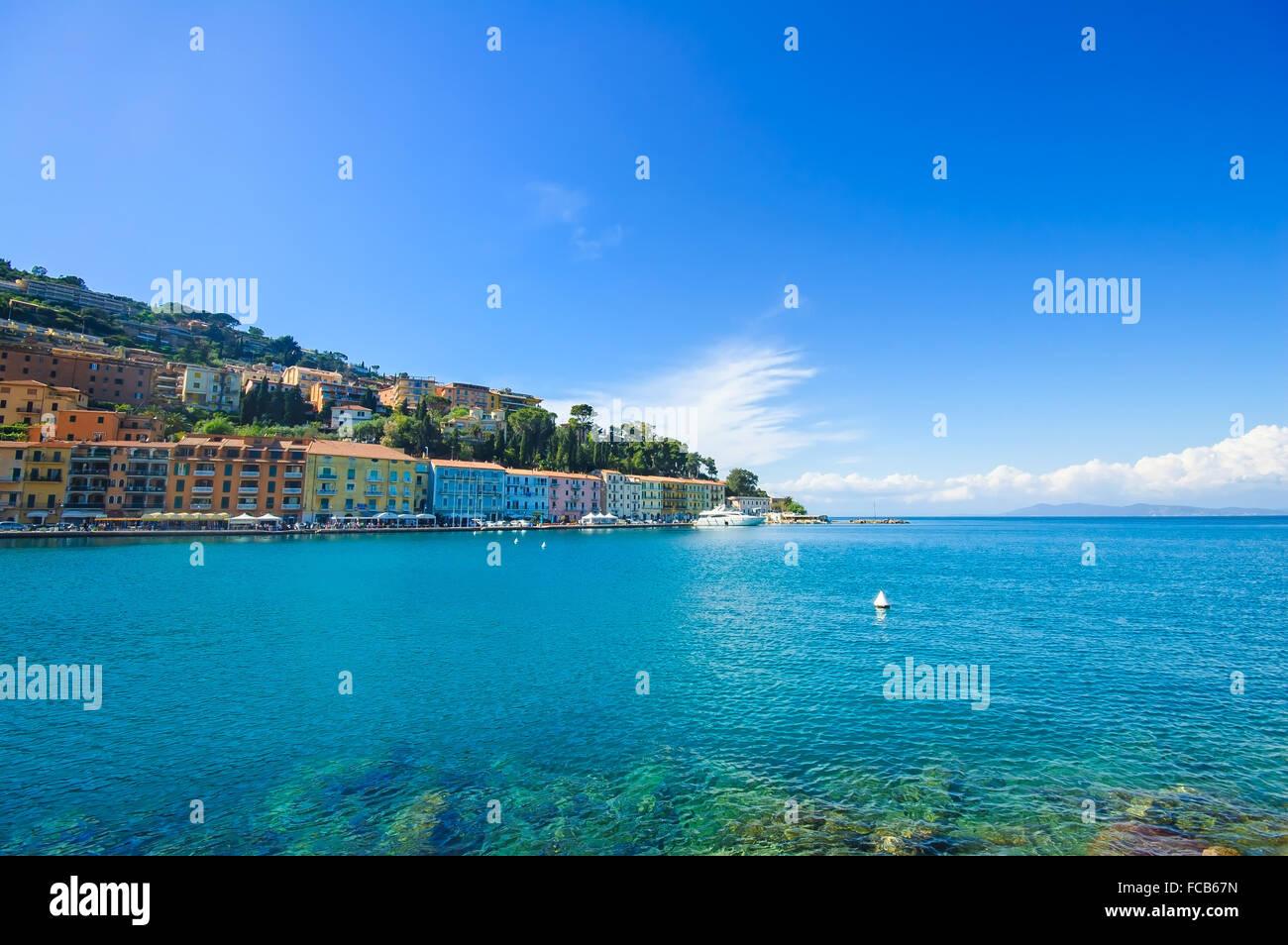 Porto Santo Stefano seafront promenade, italian travel destination. Argentario, Tuscany, Italy. - Stock Image