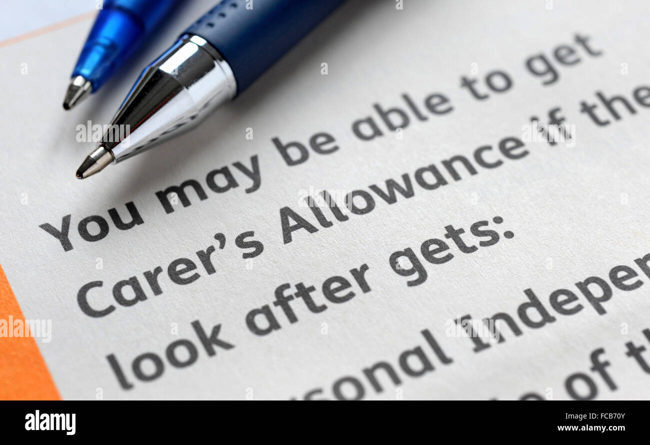 CARERS ALLOWANCE INFORMATION FORM RE THE ELDERLY BENEFITS WELFARE CARING CARE HOME AGING POPULATION DISABILITY PENSION - Stock Image