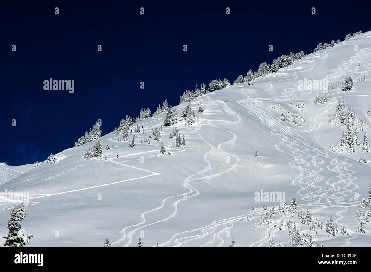 Ski trails in the snow at Park City Ski Resort, Utah Stock Photo