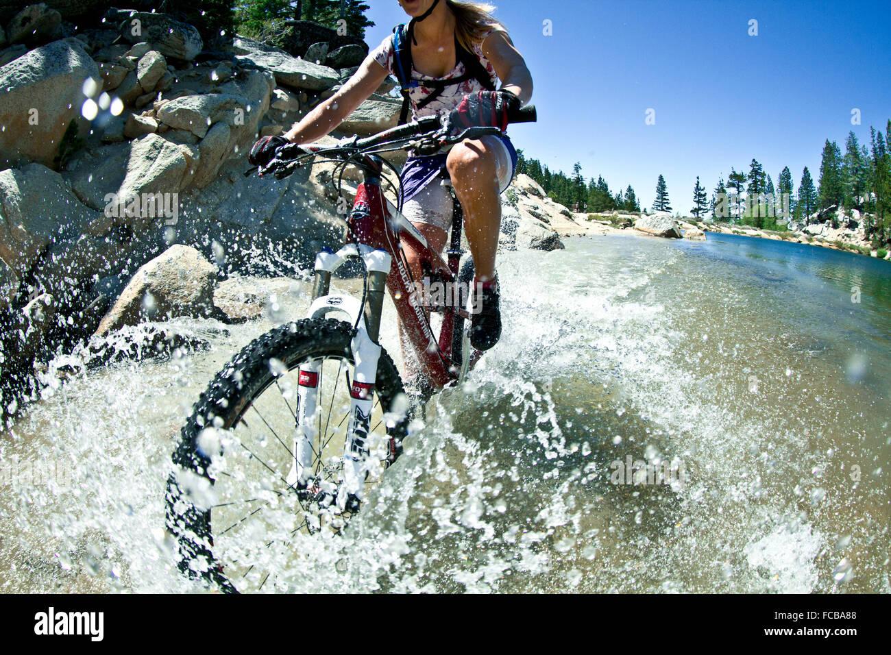 Mountain Biking on Flume Trail, Tahoe, CA Stock Photo