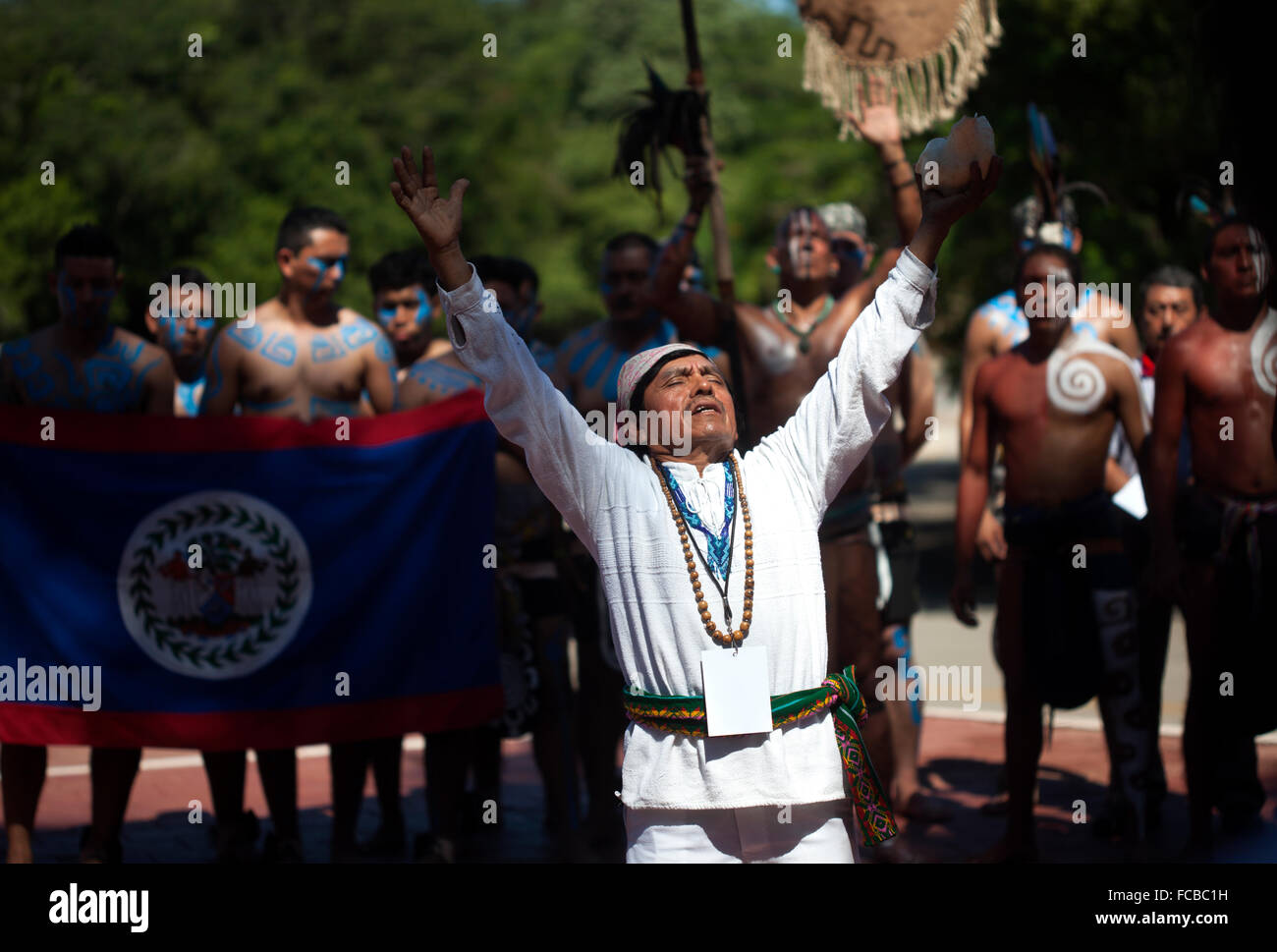 A Mayan shaman or h-mem blesses the opening of the first ®Pok Ta Pok® World Cup in Piste, Tinum, Yucatan, - Stock Image