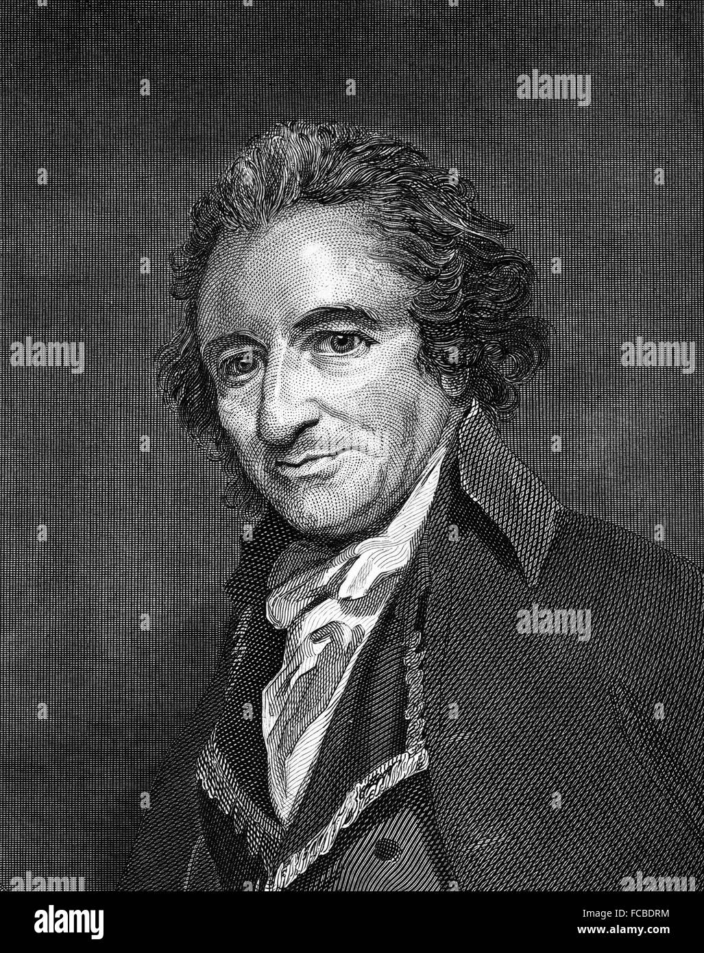 Thomas Paine, the English born activist and philosopher, whose pamphlet Common Sense (1776) crystallized the rebellious - Stock Image