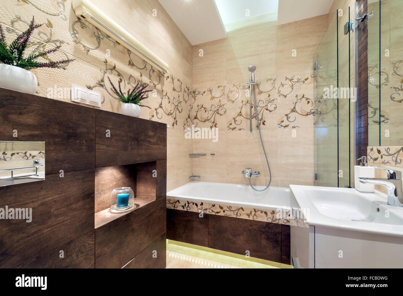 Stylish bathroom in small modern apartment Stock Photo: 93680092 - Alamy
