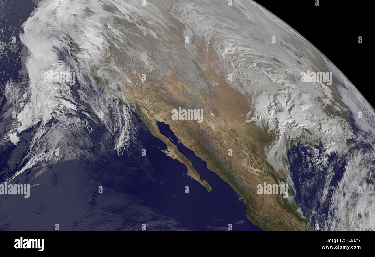 USA. 21st January, 2016. A massive winter storm seen approaching from the Gulf coast and Pacific coast by the NOAA - Stock Image