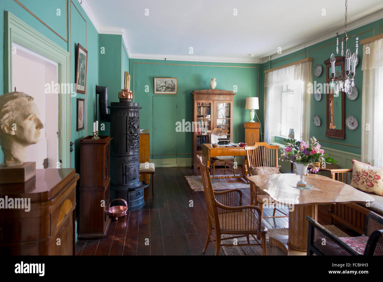 Interior of the Green Room at Rungstedlund, Karen Blixen's house, now a museum, in Rungsted, 20 km north of - Stock Image