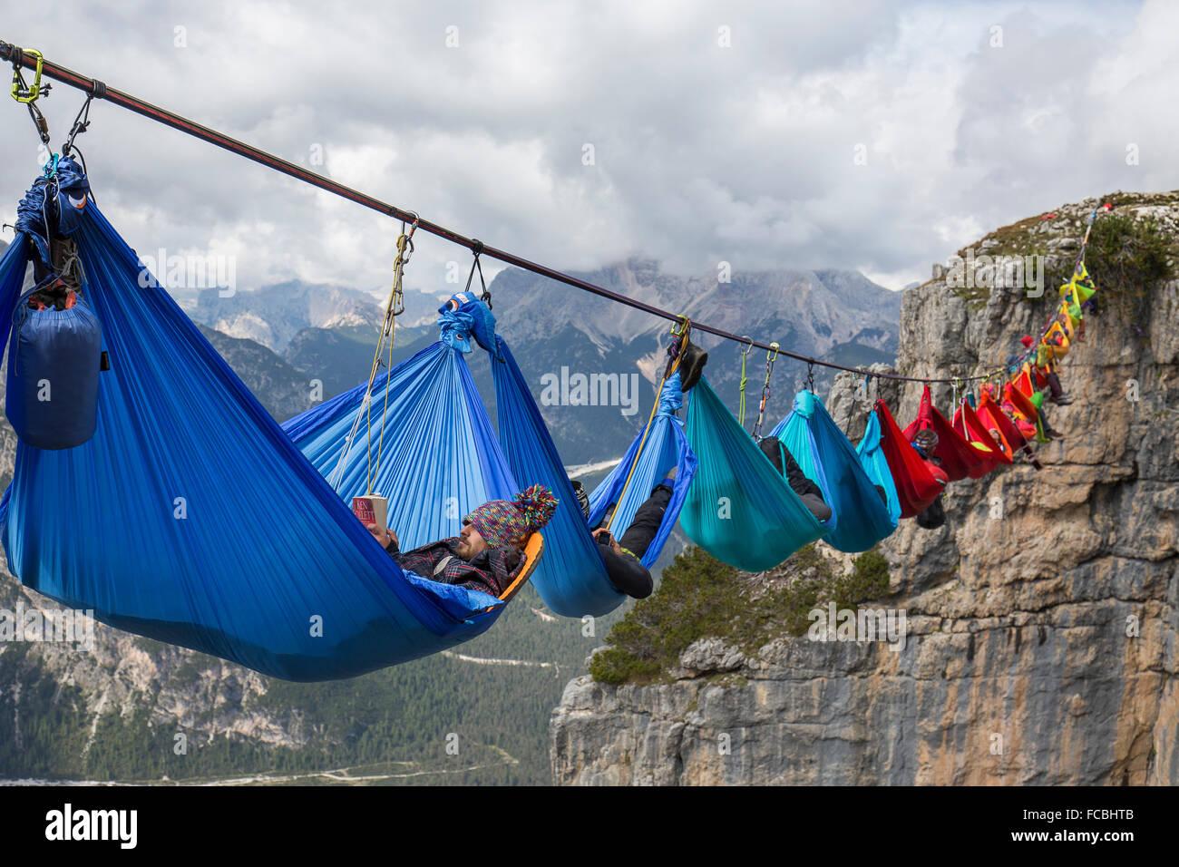 Monte Piana Hammock Session - Stock Image