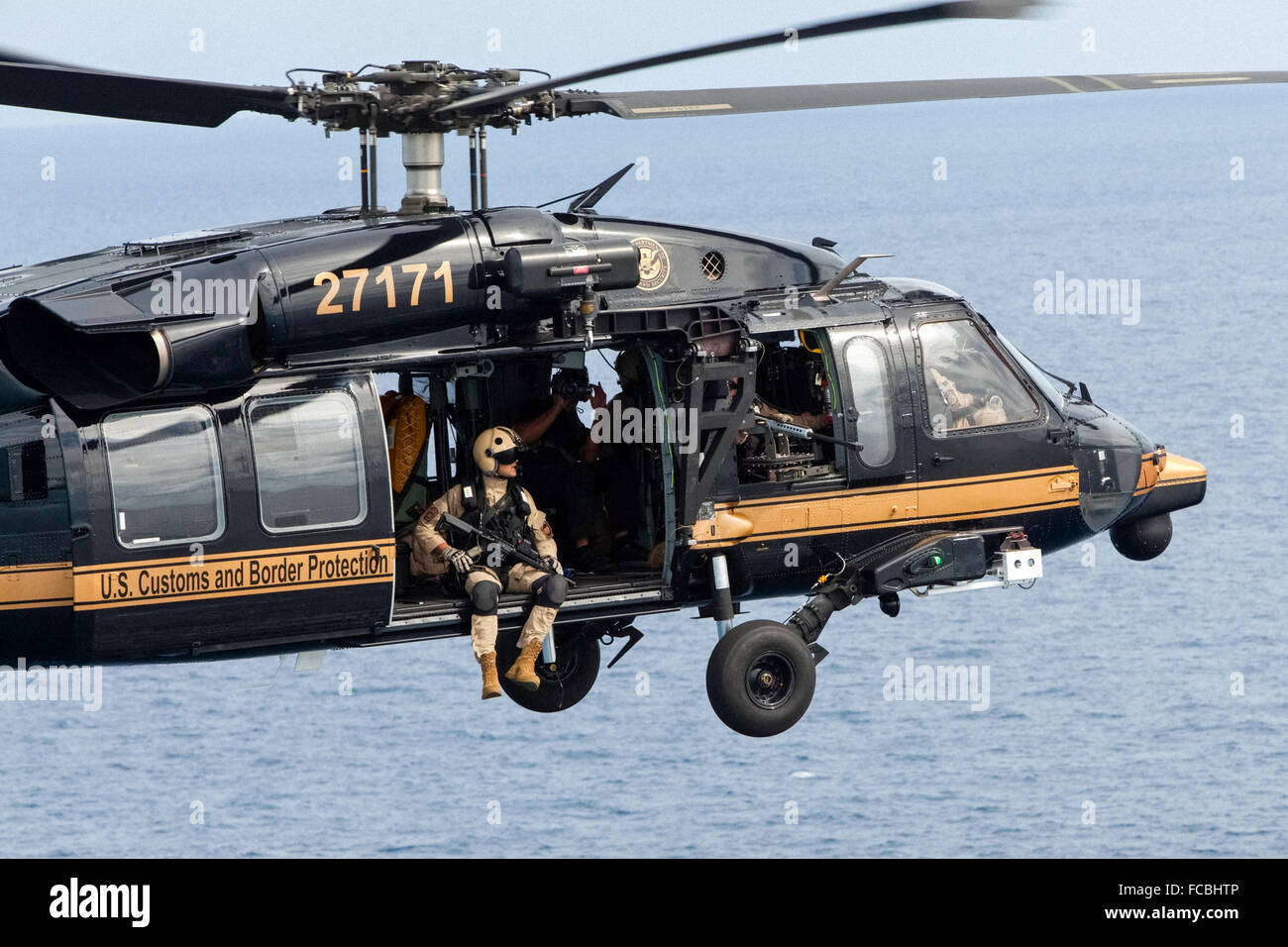 US Customs and Border Protection CBP Office of Air and Marine unit operating a Sikorsky UH-60 Blackhawk helicopter - Stock Image