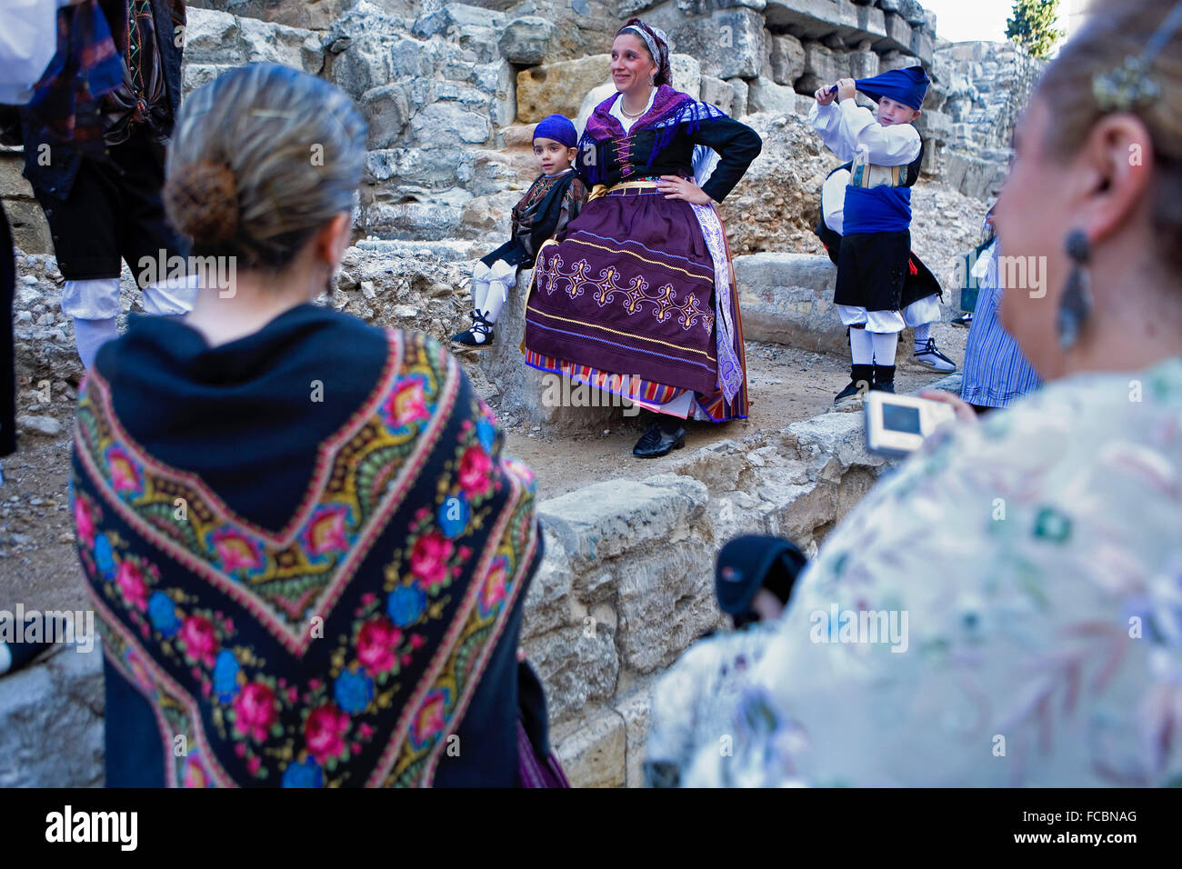Zaragoza, Aragón, Spain: People with traditional costume on October 12 during the celebration of El Pilar in - Stock Image
