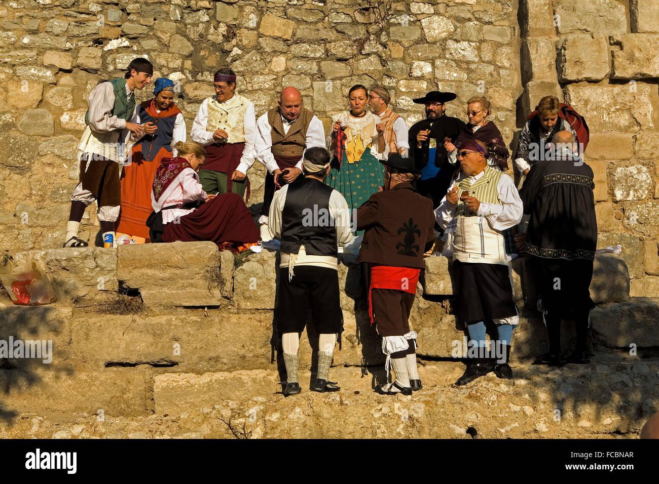 Zaragoza, Aragón, Spain: Roman wall on October 12 during the celebration of El Pilar in roman wall - Stock Image