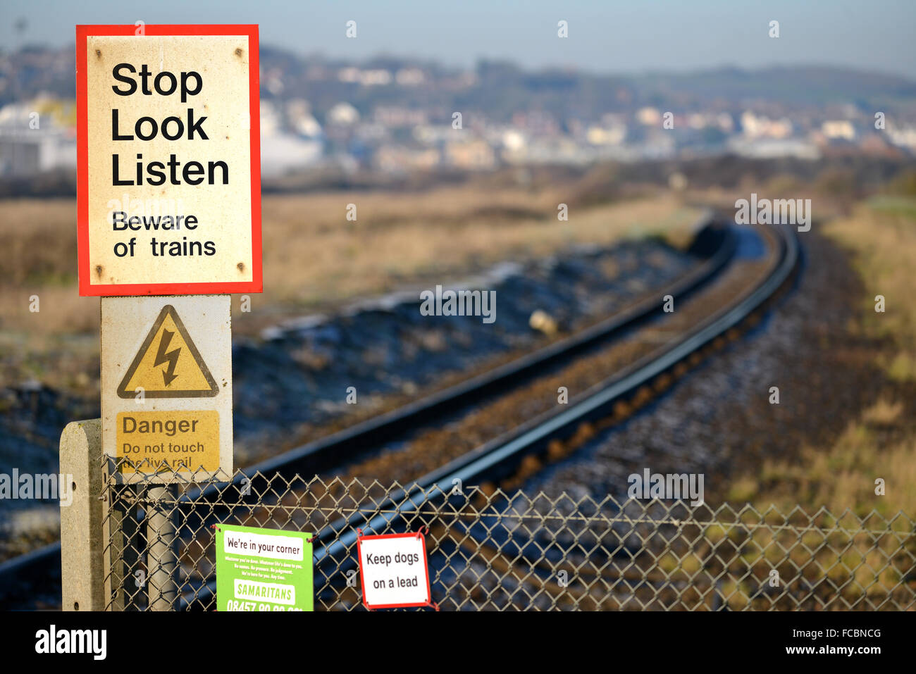 Stop look listen sign on single trail track. UK - Stock Image
