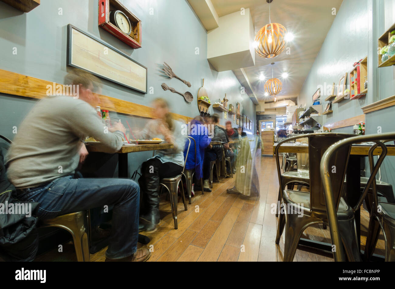 A Hipster Vintage Retro Rustic Yet Modern Cafe Restaurant In San Francisco California View Of The Interior Decoration And