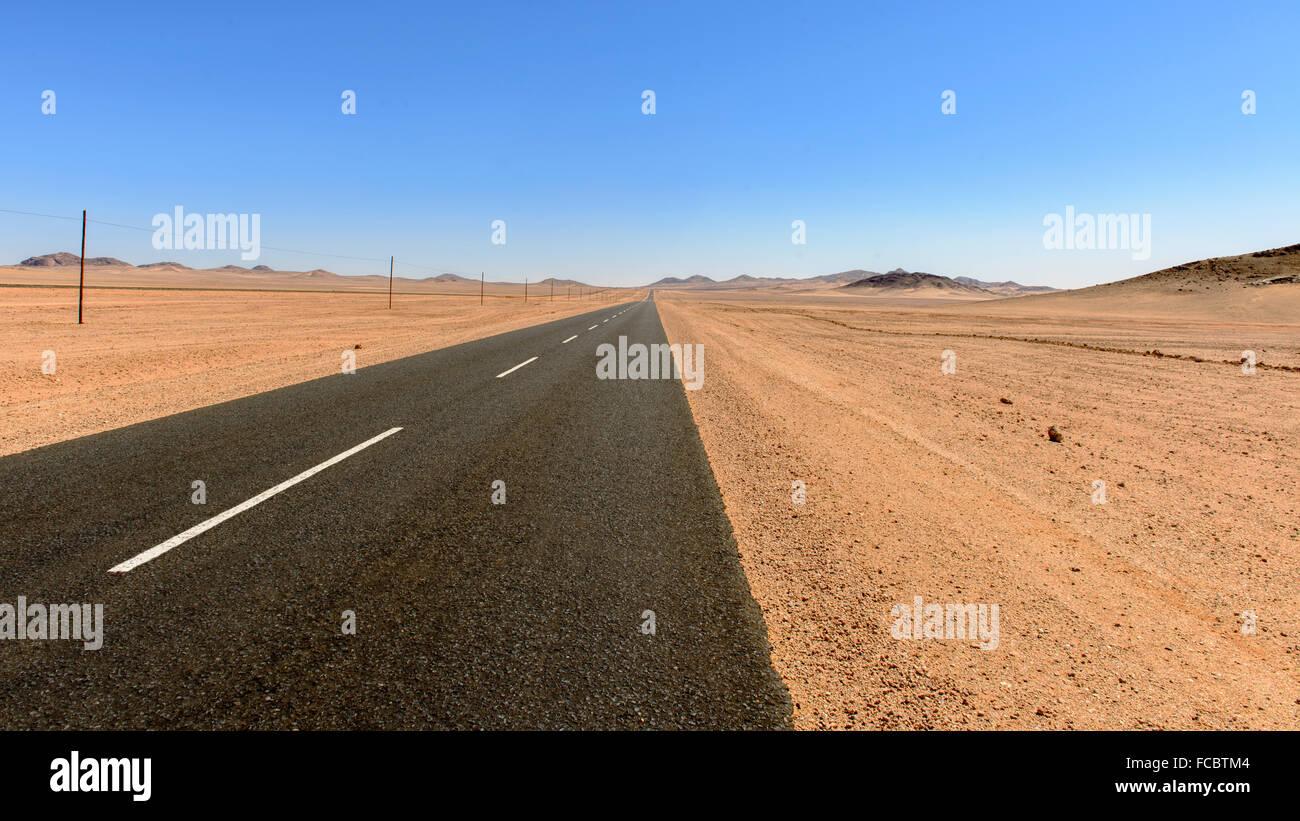 Desert road, Naukluft desert,Namibia - Stock Image