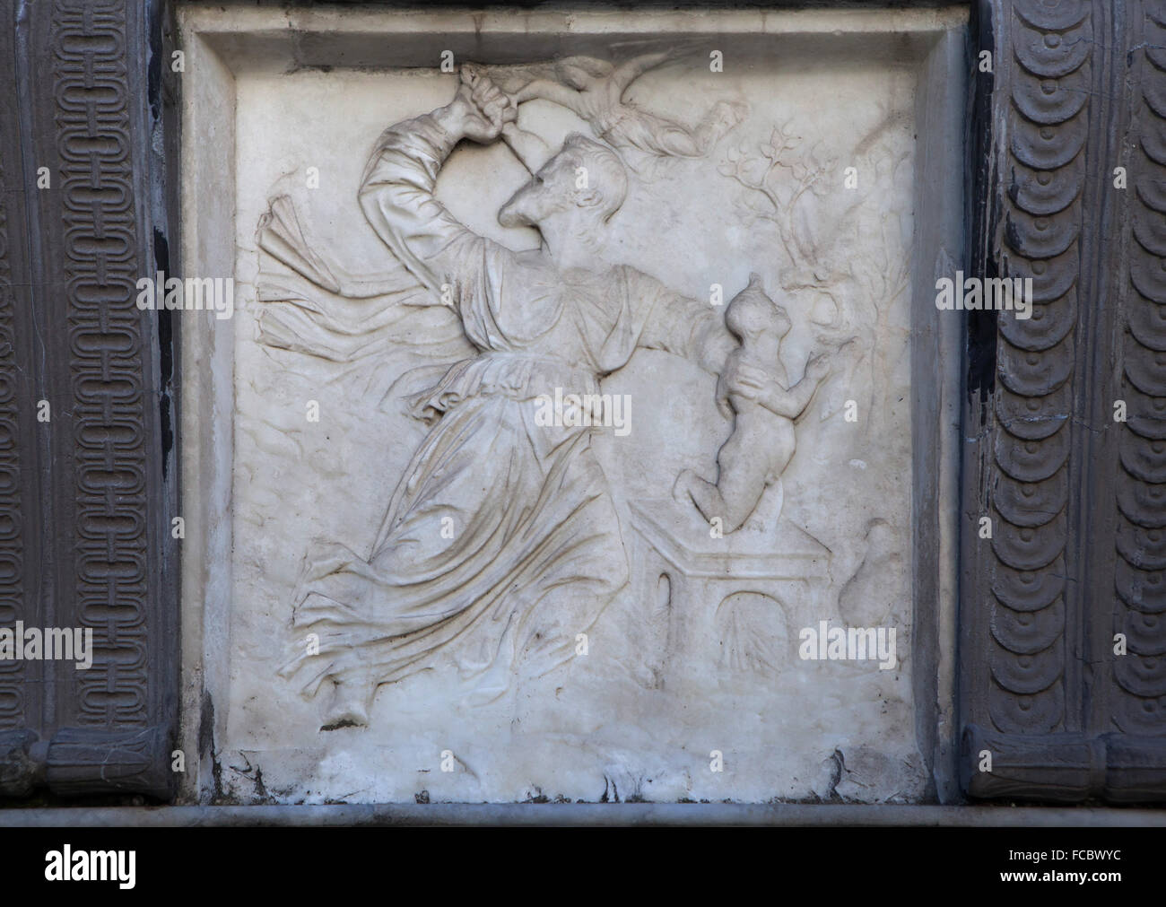 Sacrifice of Isaac. Marble relief by Italian Renaissance sculptor Giovanni Antonio Amadeo on the Cappella Colleoni - Stock Image