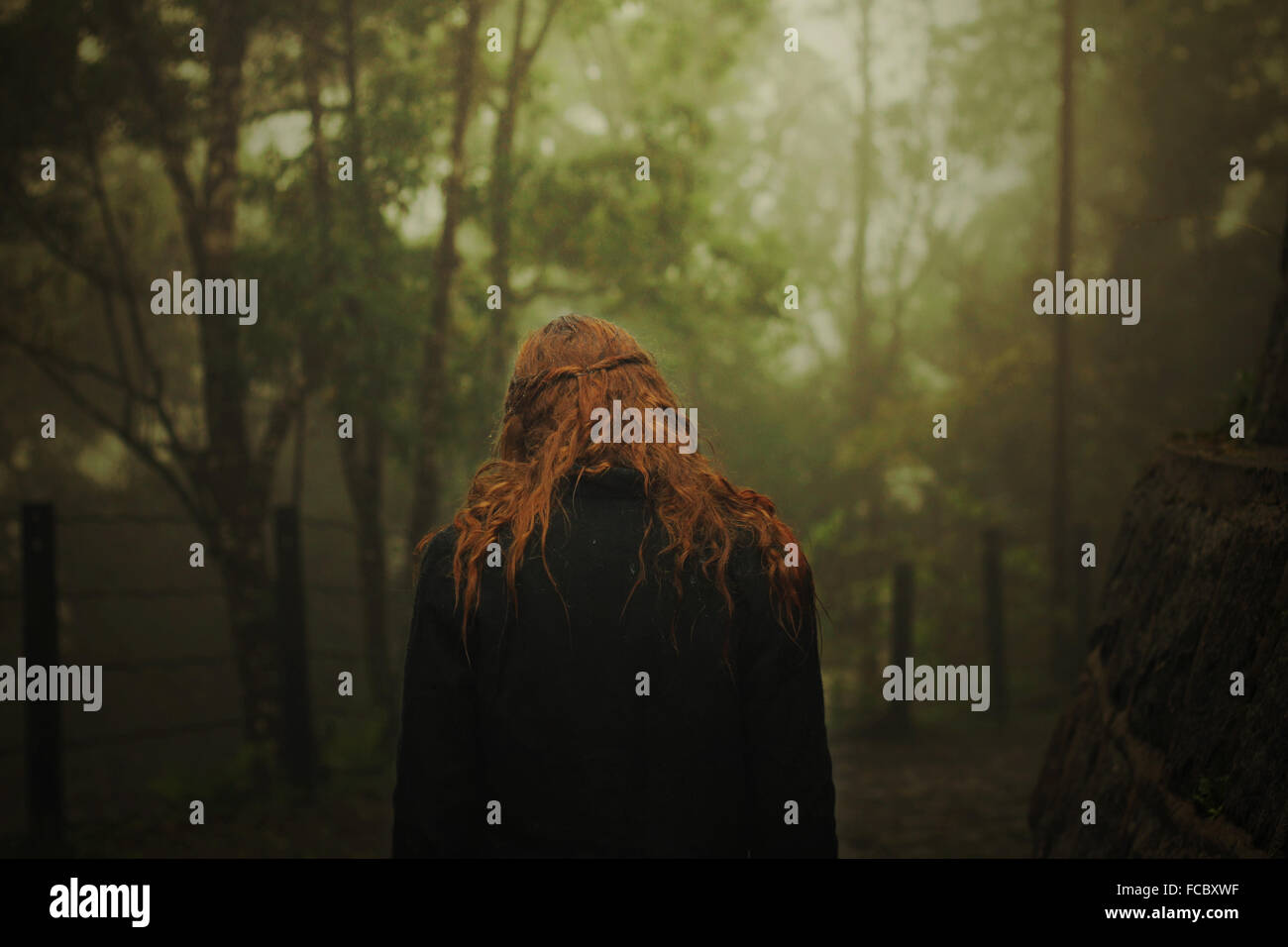 Rear View Of A Redhead Woman In The Forest - Stock Image