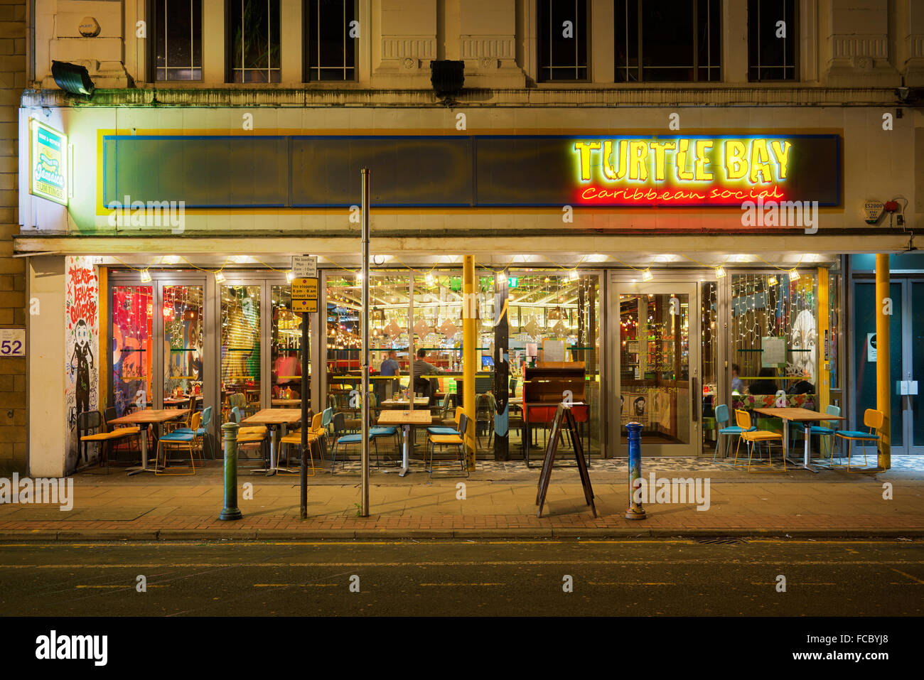 The Turtle Bay Caribbean themed restaurant located on Oldham Street in Manchester City Centre. - Stock Image